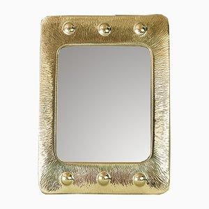Art Deco Spiegel mit Rahmen aus gehämmertem Messing, 1920er