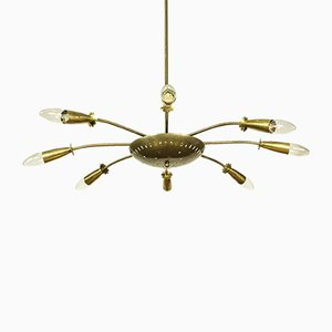 Brass Sputnik 8-Arm Chandelier, 1950s