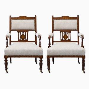 Antike viktorianische englische Armlehnstühle, 2er Set