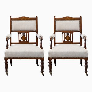 Antique Victorian English Armchairs, Set of 2