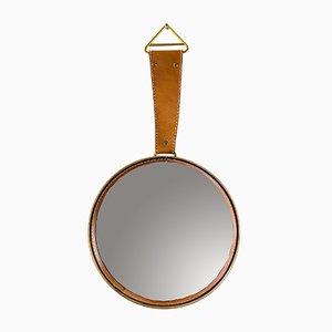Specchio da parete in pelle, anni '50