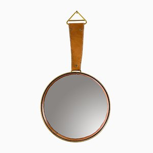 Wall Mirror with Leather, 1950s
