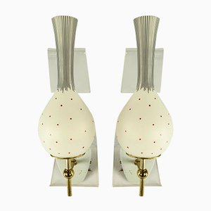 Vintage Italian Glass Shade Wall Lamps from Markenlos, 1950s, Set of 2