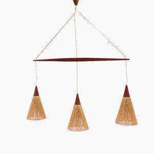 Lámpara colgante triple de Temde Leuchten, años 50