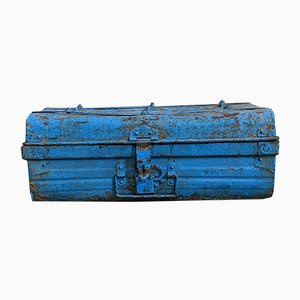 Mid-Century Industrial Galvanized Metal Trunk, 1960s