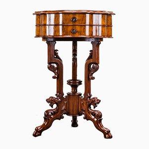 Tavolino Luigi Filippo in noce con cassetto, metà XIX secolo