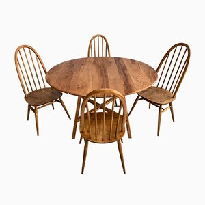 Vintage Oak Dining Set with 4 Chairs by Lucian Ercolani for Ercol