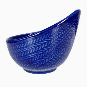 Schwedische Blå Eld Schale aus blauer Keramik von Hertha Bengtson für Rörstrand, 1949