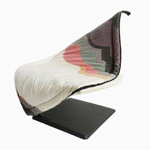 Sillón Flying Carpet alemán vintage de tela y hierro, 1988