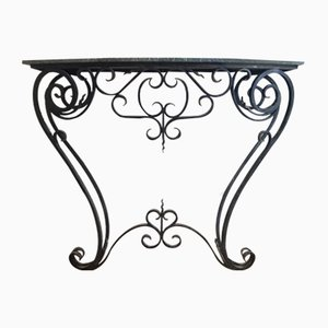 Large French Wrought Iron Console Table, 1960s