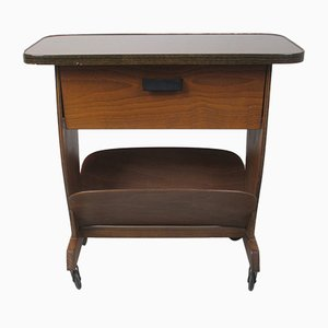 Table d'Appoint Mid-Century en Contreplaqué & Formica avec Porte-Revues, 1960s