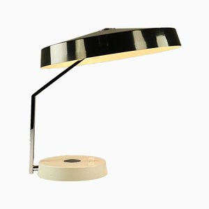 Large Minimalist German Brass & Chrome Desk Lamp from Helo, 1960s