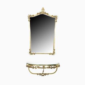 Juego de consola flotante y espejo francés vintage de latón, años 60