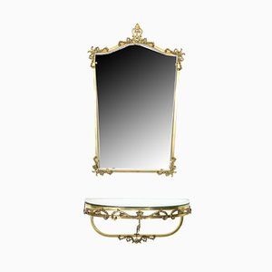 Vintage French Brass Floating Console & Mirror, 1960s