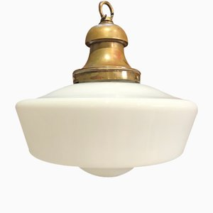 Lampada a sospensione grande in vetro opalino, anni '20