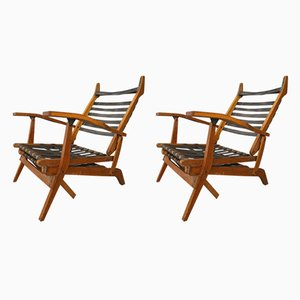 Italian Leather & Acacia Folding Deck Chairs from BBPR, 1950s, Set of 2