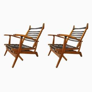 Sedie pieghevoli in pelle e acacia di BBPR, Italia, anni '50, set di 2