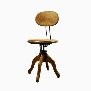 Deutscher Vintage Industrie Kontor Schreibtischstuhl aus Metall und Eichenholz von Markenlos