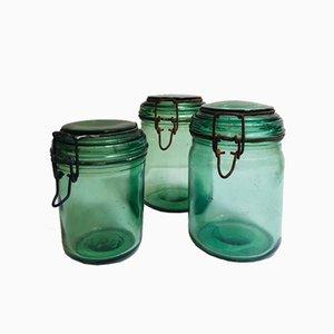 Frascos franceses de vidrio coloreado de Durfor, años 20. Juego de 3