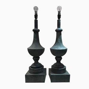 Antike französische Tischlampen aus Zink, 2er Set