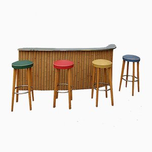 Vintage French Bamboo Cocktail Bar, Wall Cabinet and 4 Stools, 1960s