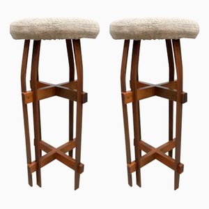 Brutalist Wood and Wool Bar Stools, 1980s, Set of 2