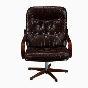Vintage Danish Leather Swivel Chair, 1970s