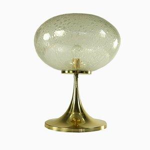 Lámpara de mesa alemana vintage de aluminio y vidrio soplado con base Tulip de Doria
