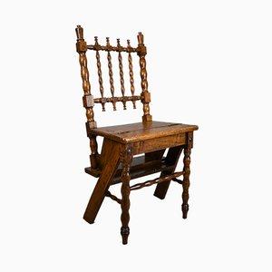Scaletta e sedia da biblioteca antica in quercia