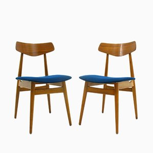 Vintage Wooden Side Chairs, 1970s, Set of 2