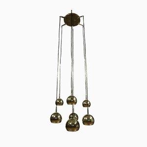 Große deutsche kugelförmige Kaskaden-Deckenlampe aus Aluminium & Chrom, 1970er