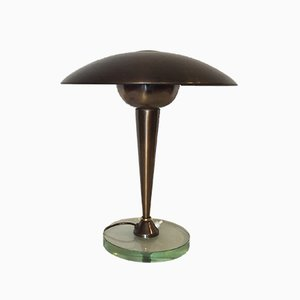 Italian Brass and Glass Table Lamp from Stilnovo, 1950s