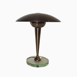 Lámpara de mesa italiana de latón y vidrio de Stilnovo, años 50