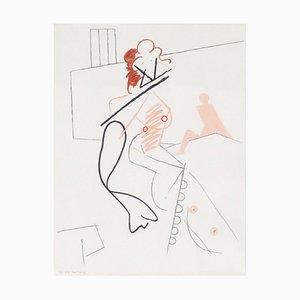 Skandinavische Lithografie von Danish Wilhelm Freddie, 1987