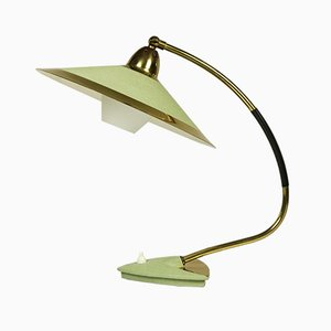 Mid-Century German Brass & Glass Reading Lamp, 1950s