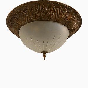 Lampe à Suspension Vintage Art Déco en Bronze, Italie, 1930s