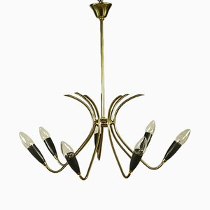 Mid-Century German Aluminum & Brass Chandelier, 1950s