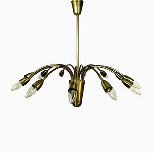 Mid-Century German Brass 12-Light Ceiling Lamp, 1950s