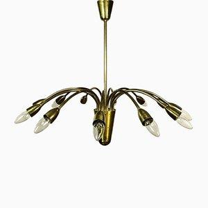 Mid-Century German Brass 12-Light Ceiling Lamp, 1950s