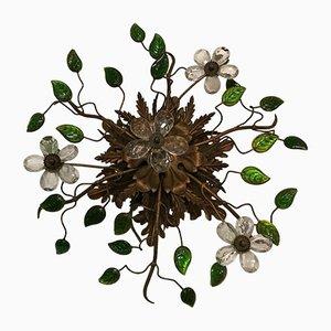 Plafón italiano vintage con flores de cristal de Murano, años 30