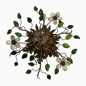 Vintage Italian Murano Glass Flower Flush Mount, 1930s