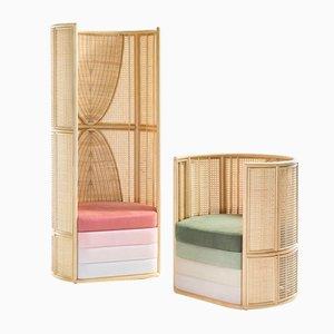 Lisetta Composition Lounge Chairs by Elena Salmistraro for Bottega Intreccio, Set of 2