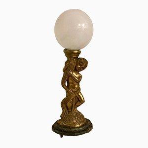 Lámpara de mesa italiana de vidrio opalino con figura de bronce, años 40