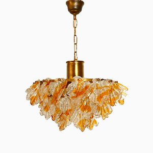 Italian Brass and Murano Glass Chandelier with Leaves from Mazzega, 1970s