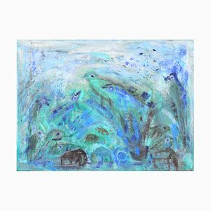 Turquoise Birds Painting by Mette Birckner, 2018