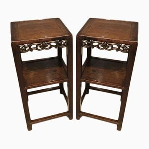 19th Century Chinese Hardwood Stands, 1880s, Set of 2