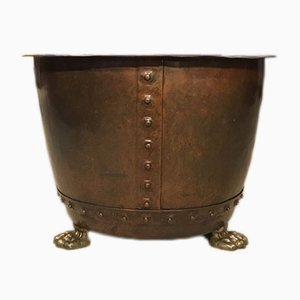 Papelera remachada de cobre, siglo XIX, década de 1880