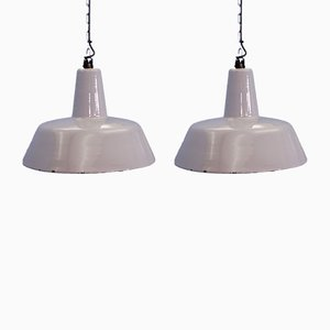 Grey Enamel and Metal Industrial Ceiling Lamps from Philips, 1960s, Set of 2