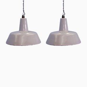 Lámparas de techo industriales de metal esmaltado en gris de Philips, años 60. Juego de 2