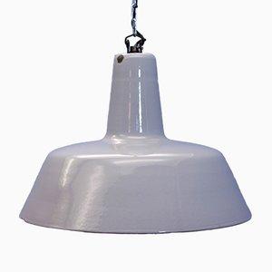 Graue industrielle Deckenlampe aus Emaille & Metall von Philips, 1960er
